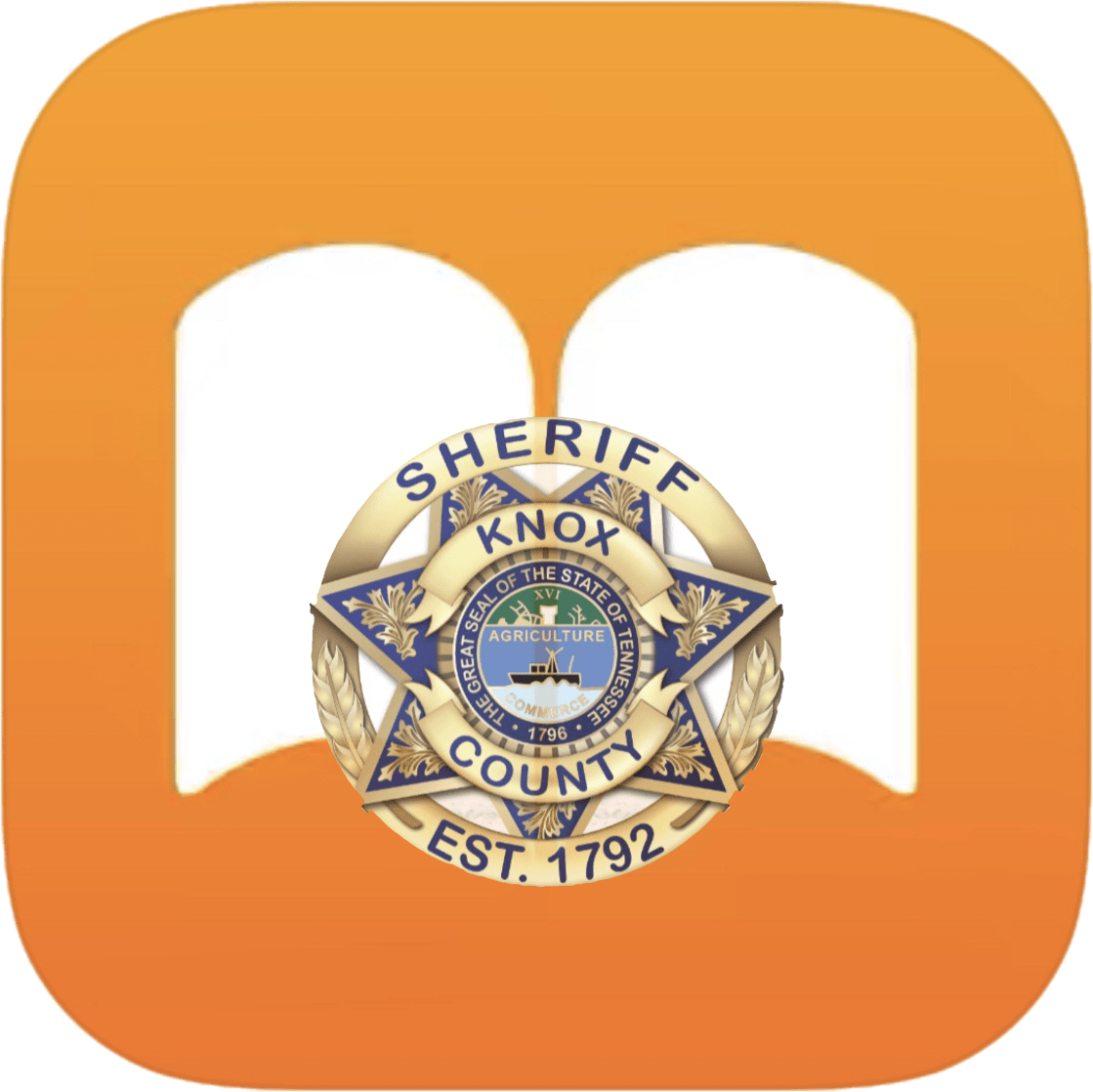 KCSO badge inside book clipart with orange background