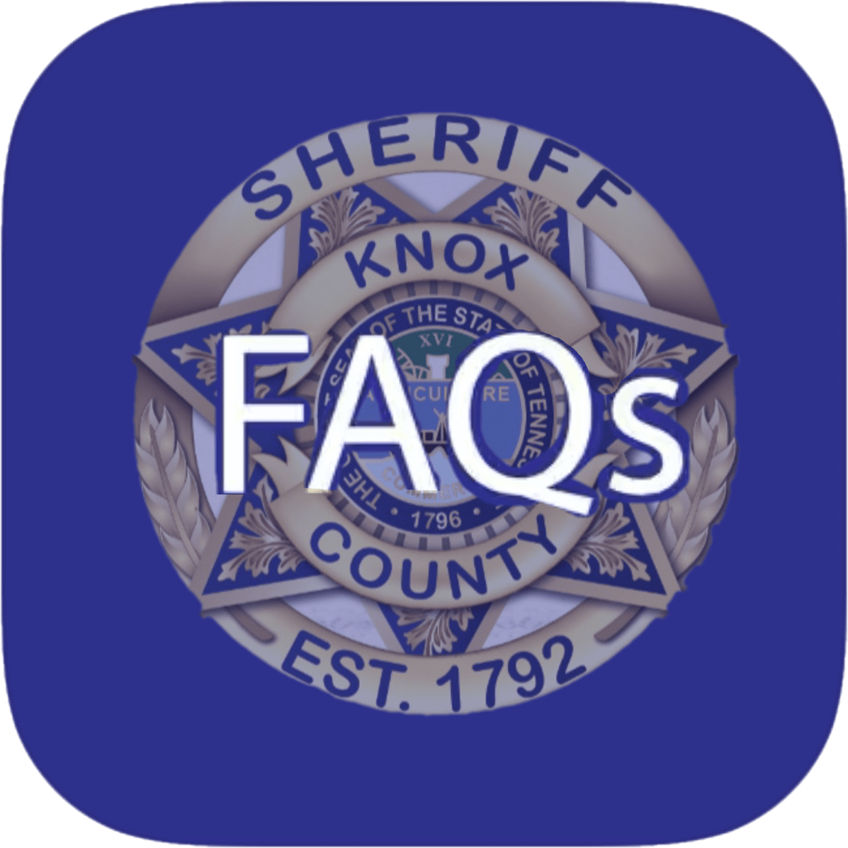"KCSO badge on blue background with ""FAQs"""