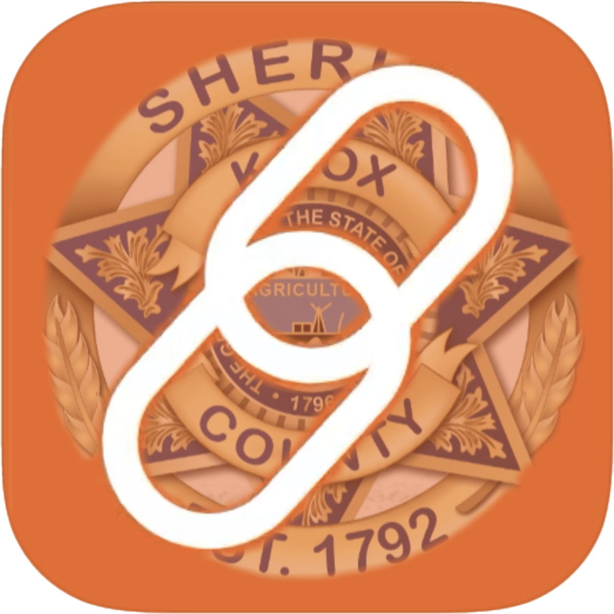 KCSO badge with hyperlink icon over orange background
