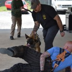 handler with k9 training with officer in protective suit