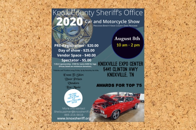 Flyer for 2020 KCSO Car and Motorcycle show: August 8 10am to 12 pm Knoxville Center Expo 5441 Clinton Highway on cork background
