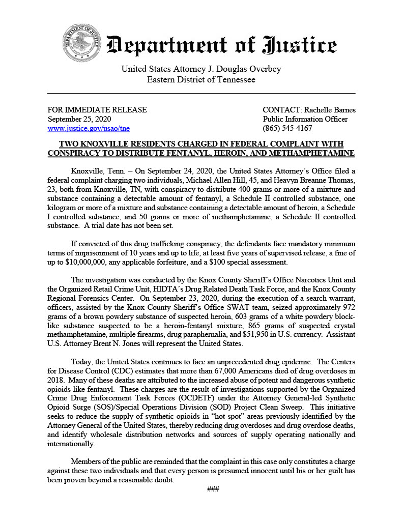 image of department of justice pdf regading two individuals charged with conspiracy to distribute