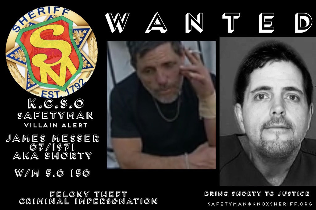 Two images of a male wanted with description and Safetyman badge