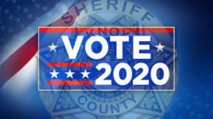 "KCSO badge with ""VOTE 2020"""