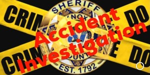 """""""Accident Investigation"""" Over KCSO badge and caution tape"""