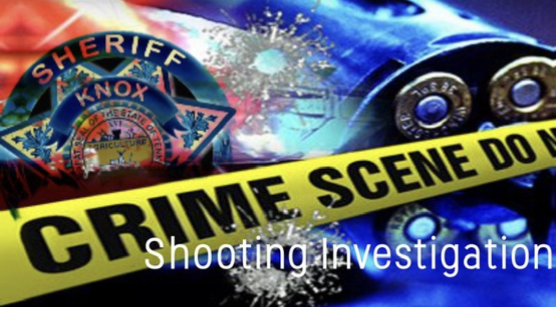 """KCSO badge, revolver background with crime scene tape and """"shooting investigation"""""""