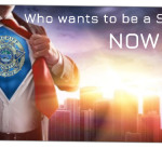 """Man opening shirt showing KCSO badge with city background and """"Who wants to be a superhero? Now Hiring"""""""