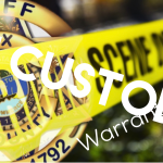 """Crime Scene tape with KCSO badge and """"warrant service"""" overlay with """"in custody"""""""