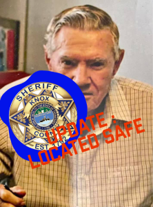 """William Vance with KCSO badge and """"Updated Located Safe"""""""