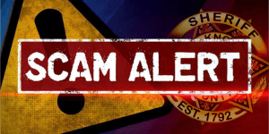 """""""SCAM ALERT"""" with KCSO Badge and Warning Sign"""