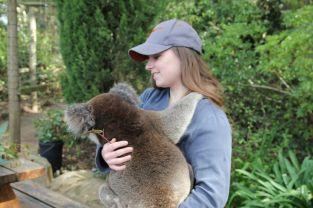 Sarahs Wonneproppen hat genug vom Mampfen ihrer Haare. Her mit dem leckeren Eukalyptus