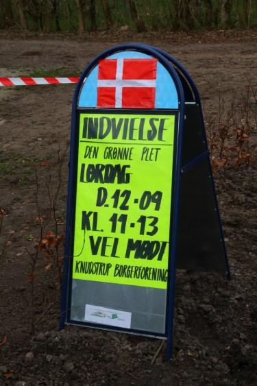 Info skilt ved Den grønne plet.