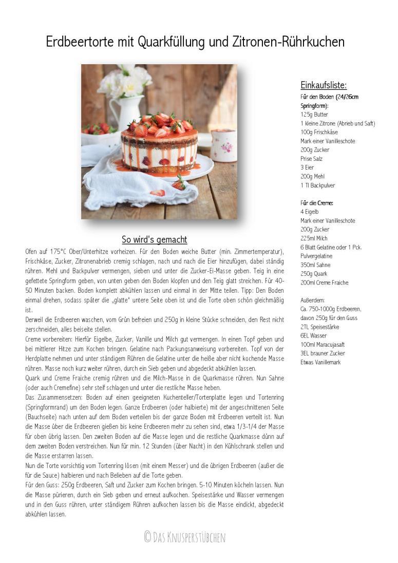 Erdbeertorte mit Quarkfuellung und Zitronen-Ruehrkuchen Rezept-001