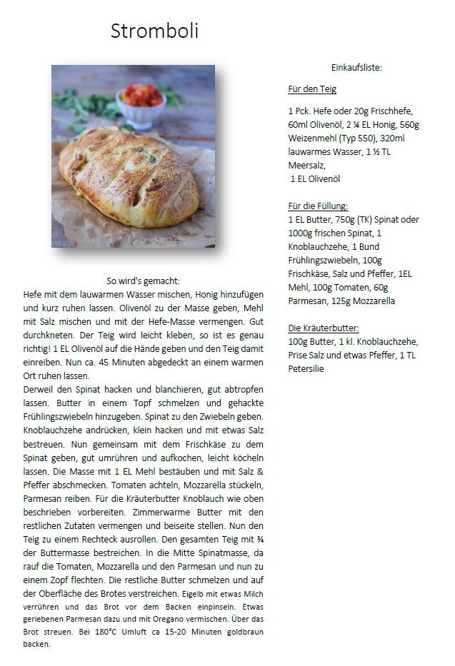 Stromboli Spinat Brot Rezept