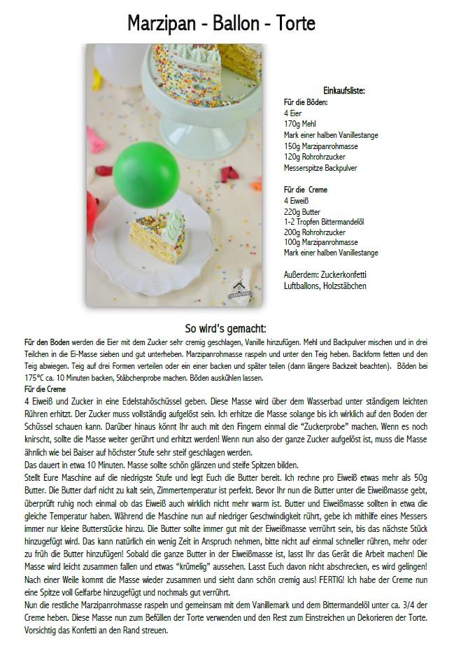 Marzipan Geburtstagstorte Luftballons Rezept