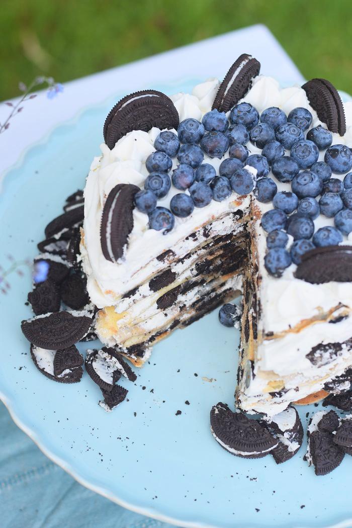 Oreo Pfannkuchen Torte mit Blaubeeren 3