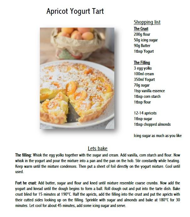 Apricot Yogurt Tart Recipe