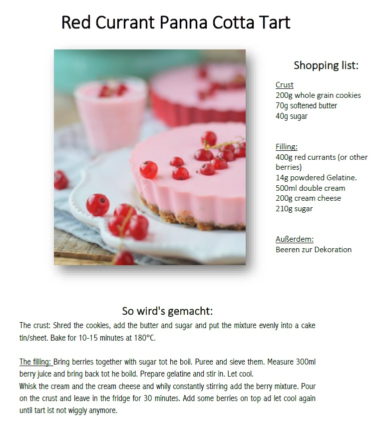 Red Currant Panna Cotta Tart Recipe