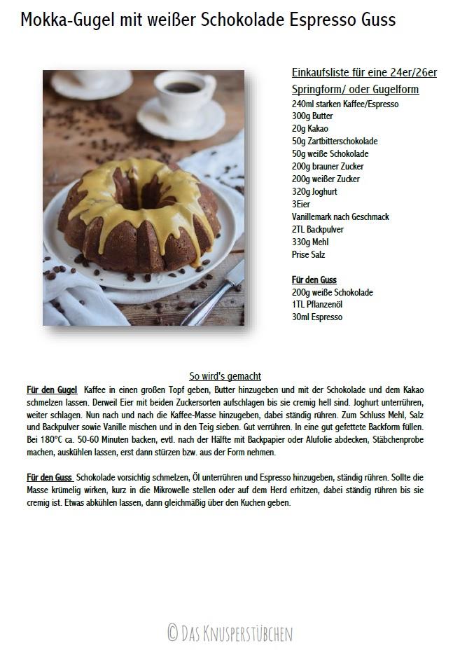 Mokka Kuchen mit weißer Schokolade Espresso Guss Rezept