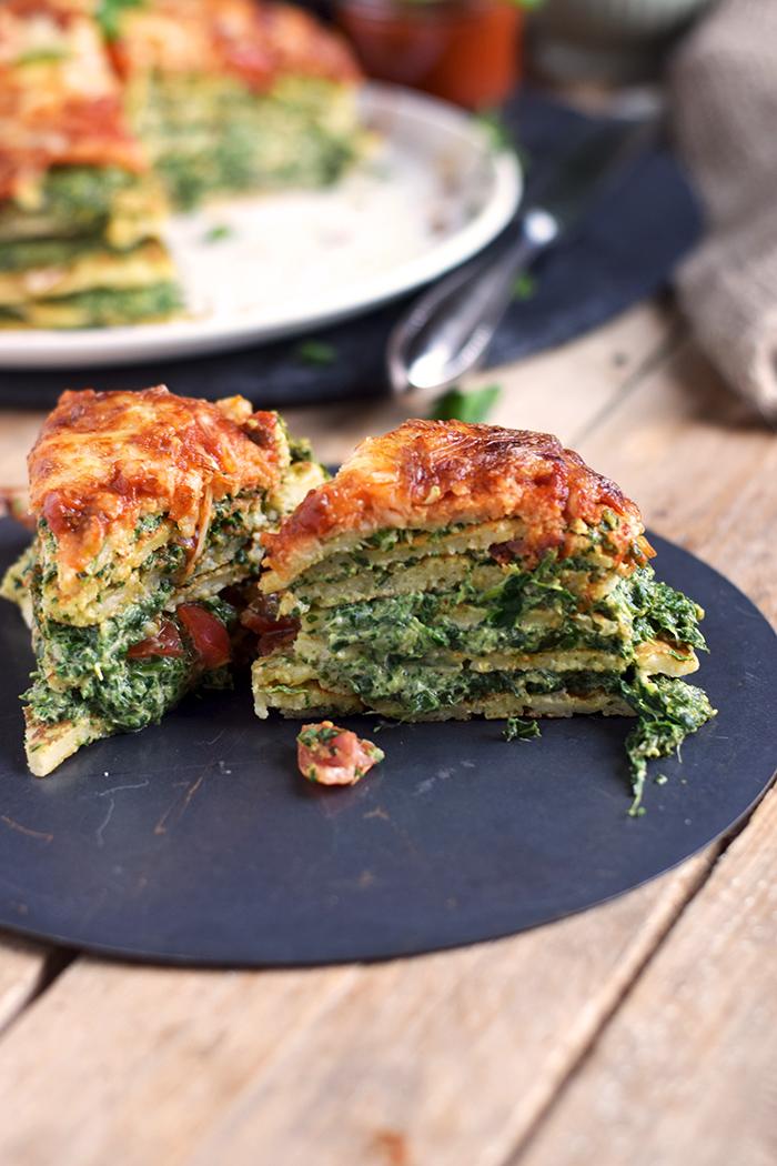 Pancake Stack mit Spinat - Herzhafter Pfannkuchen Turm mit Spinat (13)
