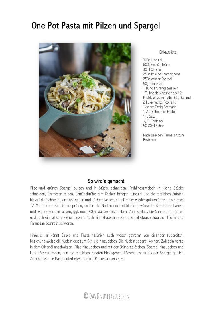 One Pot Pasta mit Pilzen und Spargel Rezept Recipe-001