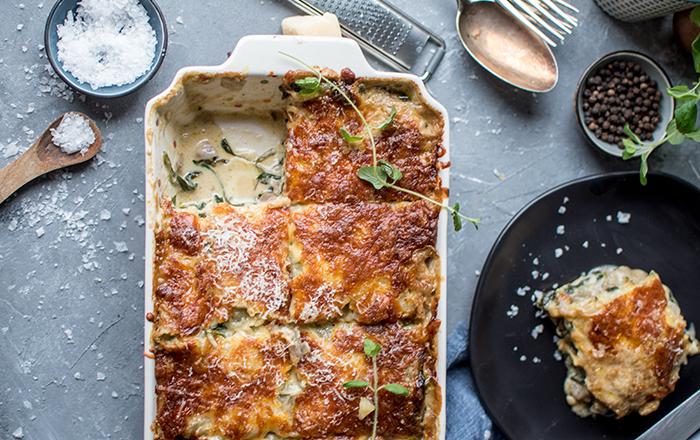 Spinat-Lasagne mit Pilzen: Vom Ofen direkt zum Lieblingsessen