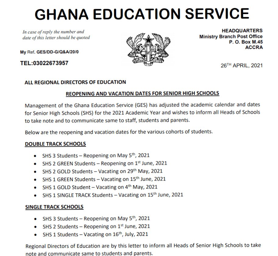 GES statement on vacation and reopening of SHS schools.