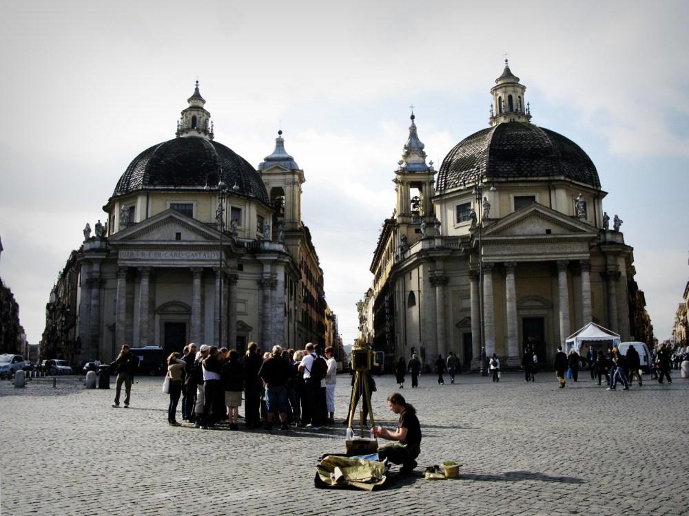 Santa Maria del Miracoli and Santa Maria di Montesanto - the twin churches, Rome, Italy