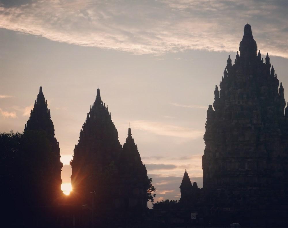 Yogyakarta Java Prombanan Sunset
