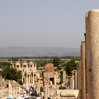 Walking down from the entrance towards the Library of Celsus