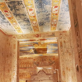 KV2 Rameses IV was built in Dynasty 20 and opened since antiquity. The highlight of this tomb is a large number of Coptic graffiti, the conversion of a pillared hall into a burial chamber; an ancient plan of the tomb is preserved on papyrus in Turin.