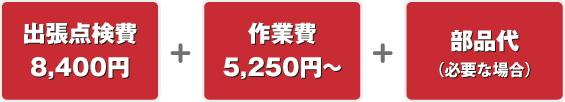 出張点検費8400円+作業費5250円+部品代(必要な場合)