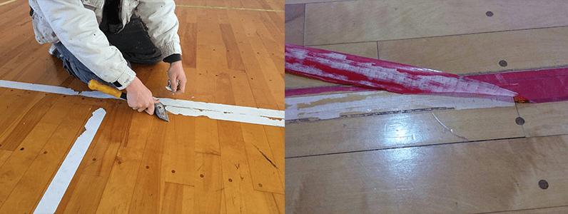 左の写真は、放置したことでテープが劣化し、数ミリづつでしか剥がせなくなってしまっています。右の写真は、テープの放置によって剥がすときにフローリング表面を損傷させてしまったようすです。