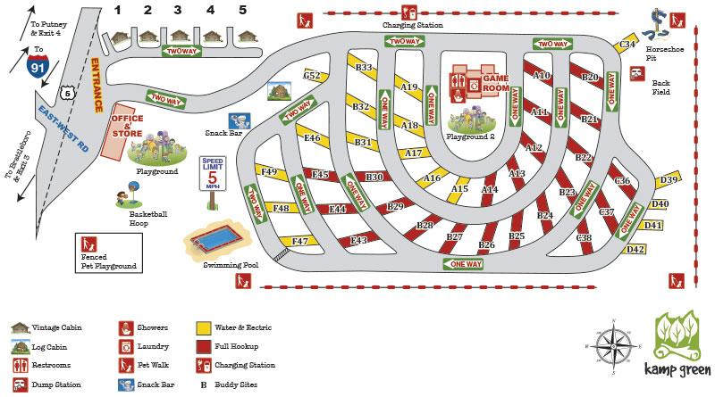 Brattleboro North KOA site map