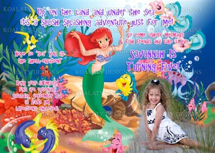 printable little mermaid ariel birthday invitations