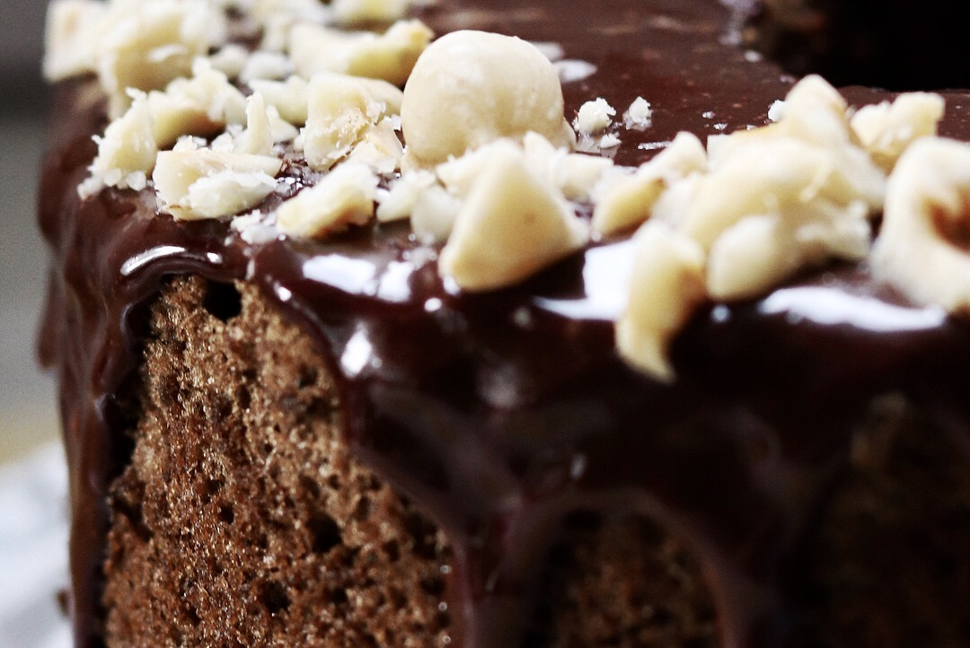 Close detail of Hojicha Chiffon Cake with Hazelnut Dark Chocolate Whiskey Ganache