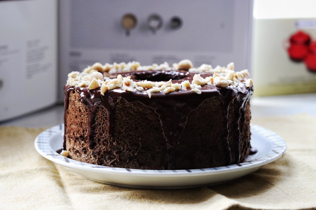 Hojicha Chiffon Cake with Hazelnut Dark Chocolate Whiskey Ganache