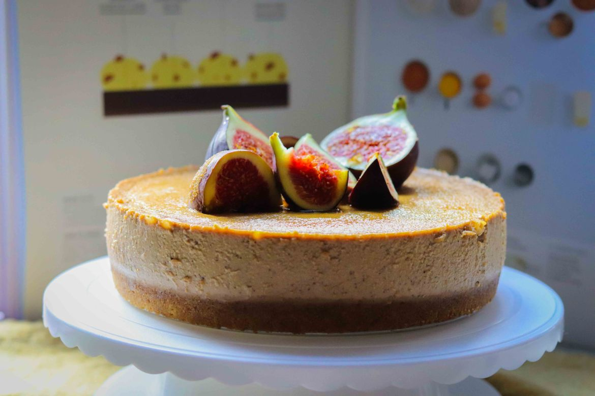 A fresh baked Earl Grey Honey Lemon Mascarpone Cheesecake