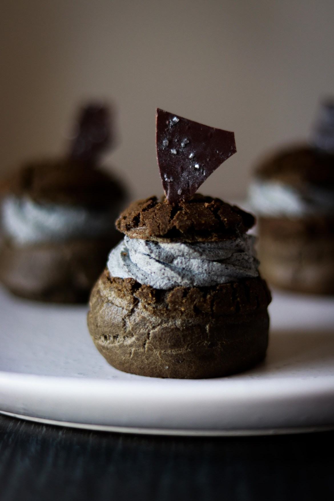 Charcoal Dark Chocolate Cream Puff with Black Sesame Chantilly Cream and Tofu Creme Patisserie