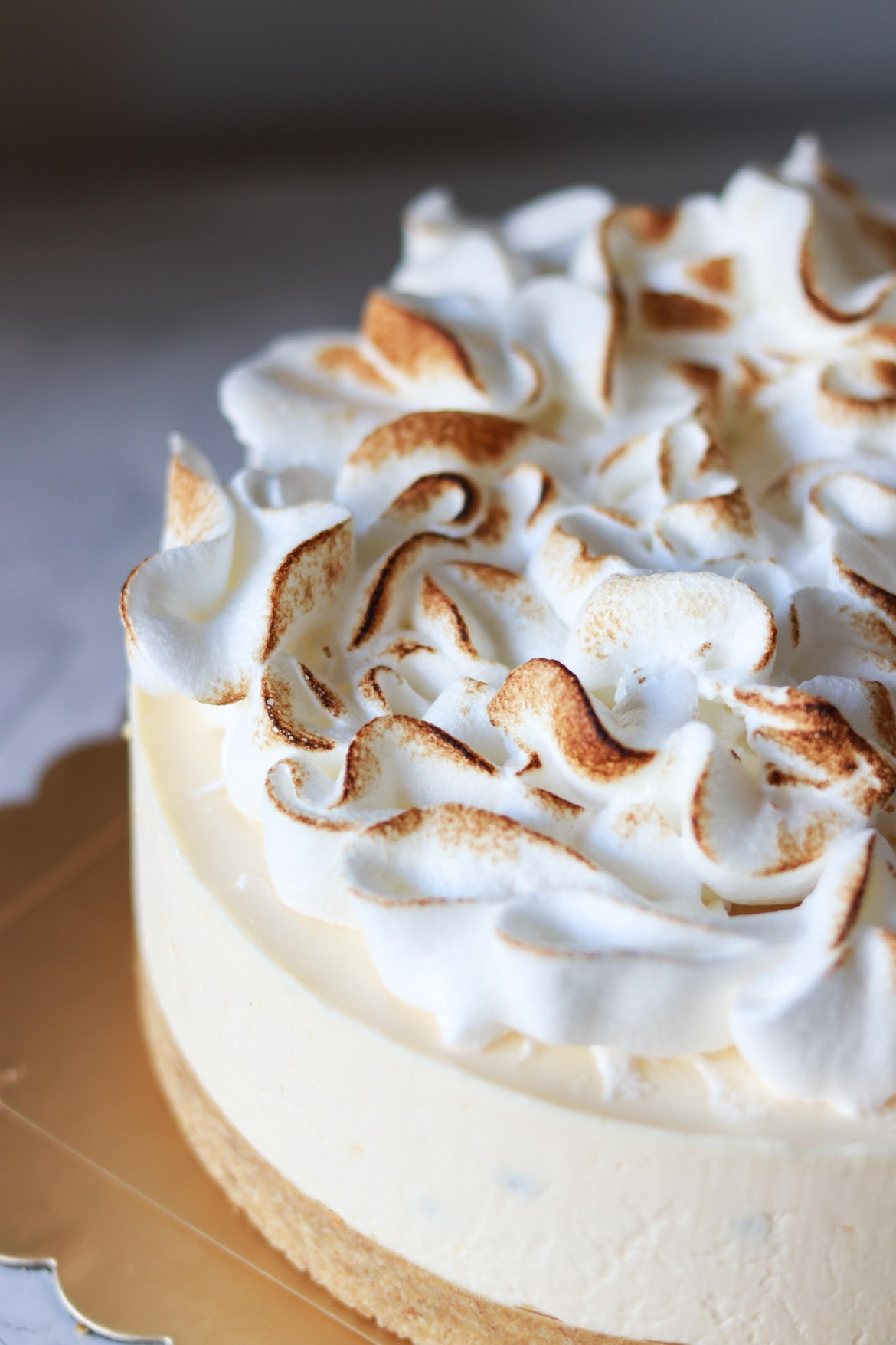 Ginger Passionfruit Yogurt Cheesecake with Italian Meringue