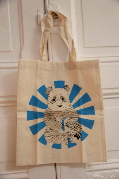 mini tote bag panda