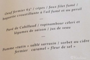 menu le chateau de sable
