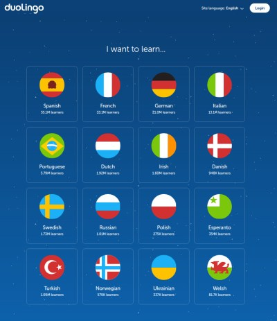 Languages available for English speakers to study on DuoLingo