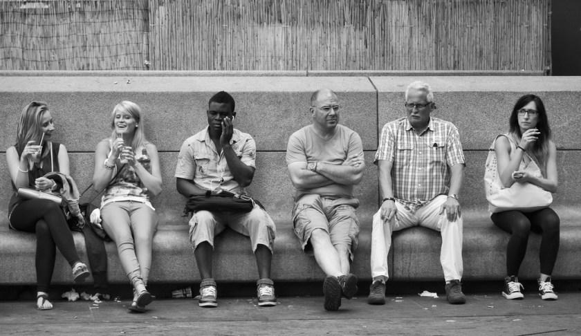 People having conversations.