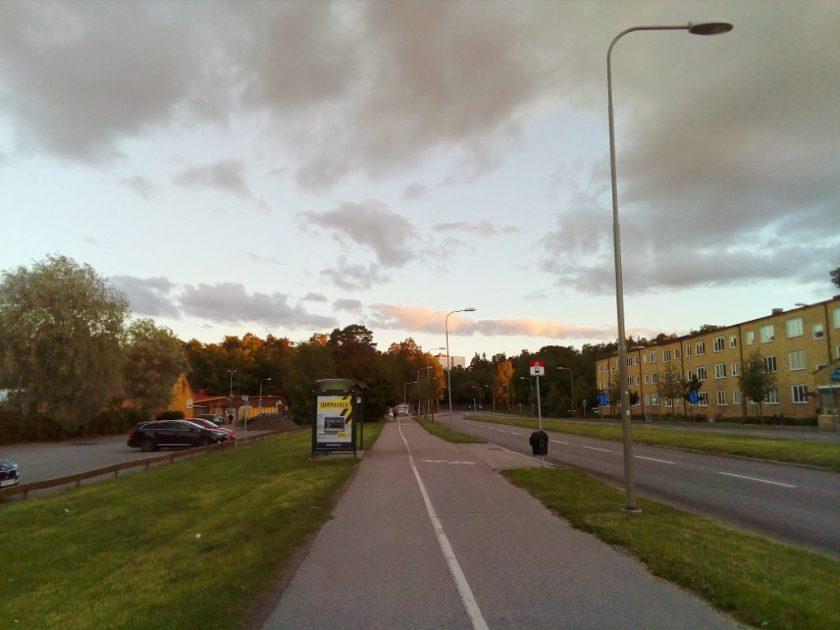 Stockholm sidewalk during a summer evening.