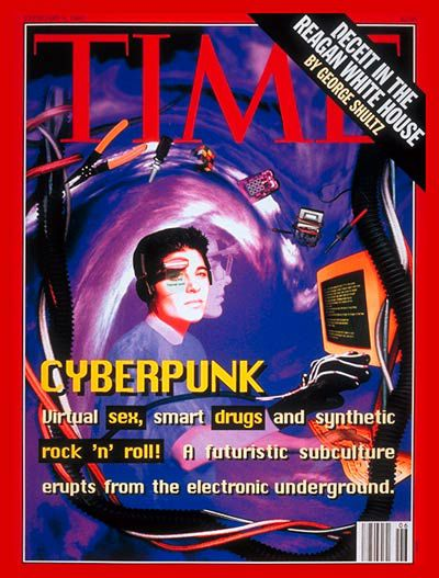 "An old cover of TIME Magazine with the headline ""CYBERPUNK: Virtual sex, smart drugs, and synthetic rock 'n' roll! A futuristic subculture erupts from the electronic underground."" over an image of a young white male wearing a headset and PowerGlove-like aparatus, seated at a CRT monitor, with a neon purple and pink spiral behind him."