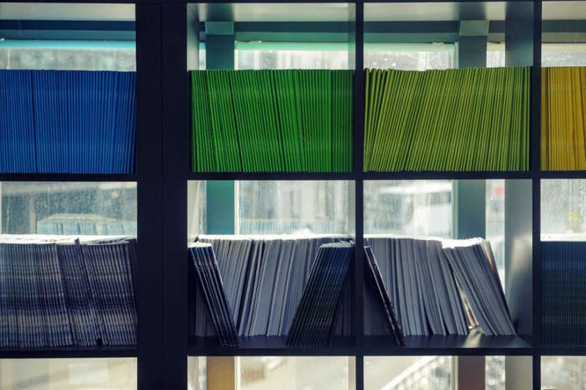 Lime green and yellow books on a shelf, backlit by daylight from a window.
