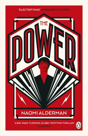 "The UK edition of ""The Power"" by Naomi Alderman, featuring a geometric Art Deco design in black red, and white."