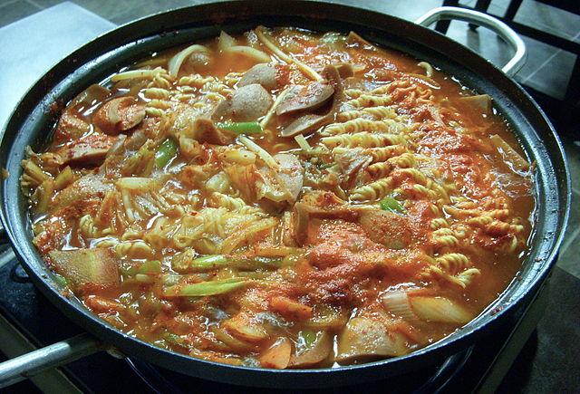 A bowl of budae jjigae.