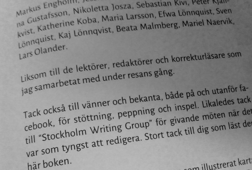 Shot of the author's thanks (in Swedish)